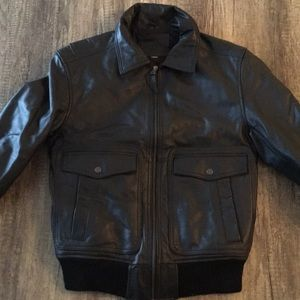 Genuine leather black jacket - men's size small